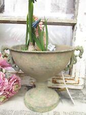 Blumentopf Metall Amphore Vase Metall Patina Shabby Vintage Antik grün Deko