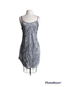gilligan o'malley nightgown Large slip adjustable sleeves black silver geo desig