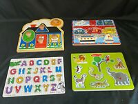 Melissa and Doug Wooden Puzzles, Lot of 4 with Sound and Learning