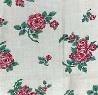 Vintage Flour Feed Sack Fabric Pink Cabbage Roses Face Mask Quilting Material