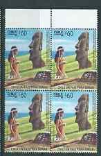 CHILE 1988 Easter Island Isla de Pascua Moai block of 4 MNH Rapa Nui 60 pesos