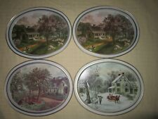 Currier & Ives Oval Serving Trays American Homestead 2 Spring 1 Summer 1 Winter
