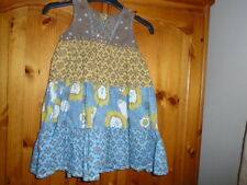 Gorgeous brown, mustard yellow and duck egg blue summer dress, NEXT, 2-3 years