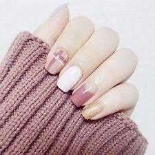 24Pcs Glitter Gold White Pink Simple Short Full Cover False Nail For Club Office