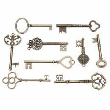9PCS BIG Large Antique Vtg old Brass Skeleton Keys Lot Cabinet Barrel Lock YG