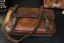 VTG 1939 World War 2 Brown Saddle Leather Messenger Briefcase Laptop Bag Mens