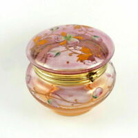 Antique Victorian Iridescent Glass Jewelry Box, Dresser Jar Hand Painted Enamel