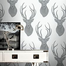 Black and Silver Stag Wallpaper Beaded Glitter Effect Stags Head 273717