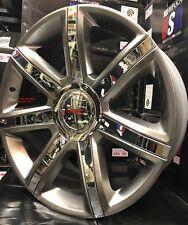 "24"" inch GMC Yukon Escalade Wheels Tires Silver Chevy Tahoe Sierra Silverado"