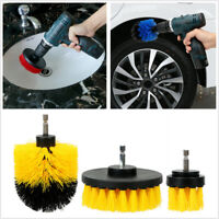 3 x Round Full Electric Bristle Drill Brush Rotary Cleaning Tool Kit Accessories