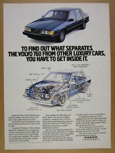 1989 Volvo 760 Sedan blue car photo cutaway drawing art vintage print Ad