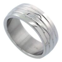 Men's Stainless Steel Simulated Diamond Size 11 Wedding Band 8mm Matte Domed C26