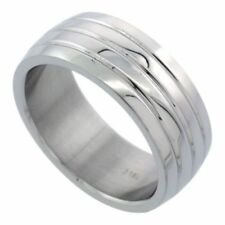 Men's Stainless Steel Simulated Diamond Size 9 Wedding Band 8mm Matte Domed C26