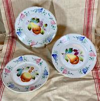 Set of Hand Painted Fruit Pattern ANTIQUE PORCELAIN DESSERT PLATES