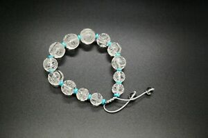 Clear Quartz Bracelet Rock Crystal Carved Shou Dragon Lotus Graduated Bracelet