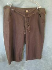 Venezia Plus Size 22W Belted Wide Leg Capri Pants NWT Dark Brown Linen Blend