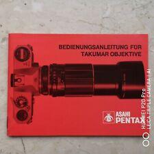 Pentax Asahi Bedienungsanleitung Deutsch für Takumar Objektive 80er J. (Vintage)