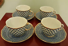 Blue & White PORCELAIN CUPS &SAUCERS, Hand-Finished, 18Kt gold accents, Set of 4