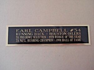 """Earl Campbell Houston Oilers Engraved Nameplate 1.5"""" X 8"""" For A Football Display"""