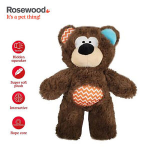 Rosewood Super Tough Plush Rope Brown Bear Dog Toy Tug