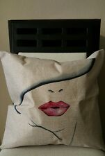"""Beautiful Woman with Pink Lips and Hat Linen Throw Pillow Cover 18"""" US Seller"""