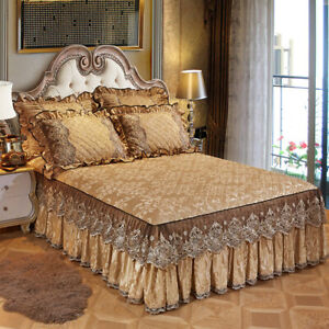 Lace Velvet Quilted Bed Skirt Elastic Queen King Dust Ruffle Bedspread Vintage