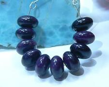 10 RARE BIG NATURAL UNTREATED AFRICAN PURPLE SUGILITE RONDELLE BEADS STRAND 10mm