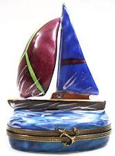 LIMOGES France Peint Main RMC Studio Large Porcelain Sailboat Hinged Box