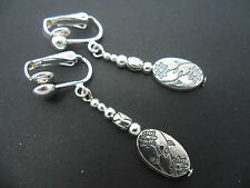 Dangly Clip On Earrings. New. A Pair Of Pretty Tibetan Silver