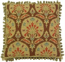 "20"" x 20"" Handmade Wool Needlepoint Gold Fans Pillow with Tassels"