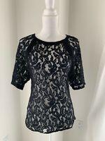 Maje Black Lace Short Sleeve Top SZ 3 M L