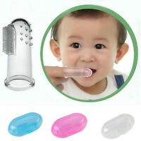 BABY SOFT SILICONE FINGER TOOTHBRUSH with CASE, TEETHER GUM MASSAGER.UK SUPPLIE