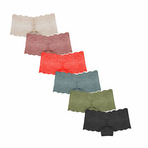 6 Pack Womens Sexy Lace French Knickers Briefs Seamless Underwear Panties 6-18