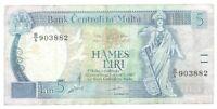Banknote Malta - 5 Liri - 1989