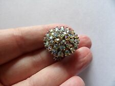 Pretty, vintage, ab coated crystal 3D round target style brooch 554-17