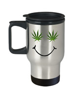 Cannabis travel mug - Smiley Weed face - Funny ganja marijuana stoner 420 gift