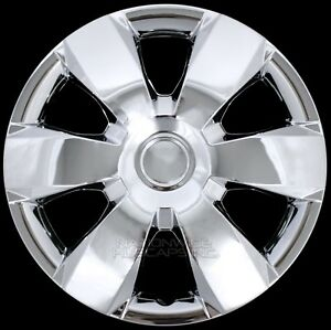 "14"" Set of 4 Chrome Wheel Covers Snap On Full Hub Caps fit R14 Tire & Steel Rim"