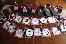"Minnie Mouse ""Happy Birthday"" Banner Decorations Handmade Pink Black"
