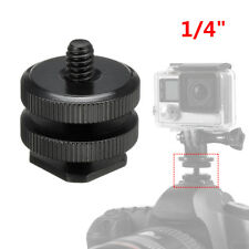 "1/4"" Dual Thumb Screw Flash Cold Hot Shoe Camera Adapter Mount for GoPro DSLR"