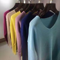 Pullover V Neck Knitwear Sweater Knitted Long Tops Jumper Loose Women's Sleeve