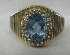 14K SOLID GOLD 1.36 CT. BLUE TOPAZ & DIAMOND RING SHARP!