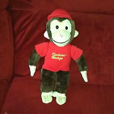 Curious George Monkey Soft Plush Brown 13in Red Shirt Cap No Tush Tag