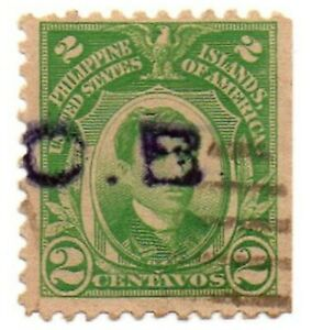 1917 PHILIPPINES/US Hand Stamped O.B. OFFICIAL Rizal Stamp PH 290 Used Cleaned
