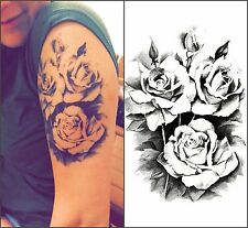 Temporary Tattoo Body Art Mysterious Rose Flower Black Beauty Stickers
