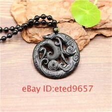 Phoenix Black Gifts Pendant Jade Necklace Double sided Amulet Obsidian Natural