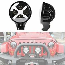 "6"" 60 Watt Spotlight and Round LED Lamp X DRL Turn Signal Reverse Jeep Offroad"