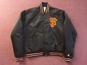 SAN FRANCISCO GIANTS SATIN STARTER JACKET MEN'S SIZE LARGE BLACK ORANGE 80s 90s