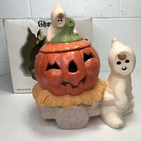VTG Large 70s Ceramic Jack-O-Lantern Ghost Halloween Candle Holder Robert Alan