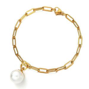 Gold White Pearl bracelet bangle for women elegant modern design charming BB278