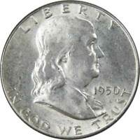 1950 50c Franklin Silver Half Dollar US Coin AU About Uncirculated